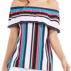 Vince Camuto Striped Colorful Off The Shoulder Top